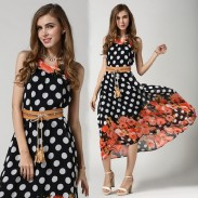 Summer Personality Dot And Flower Splice Sleeveless Dress