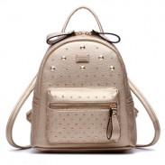 Classic Rivet Backpack Champagne Bilateral Zipper Travel Bag