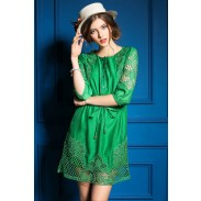 Spring New Hollow Sleeve In Embroidered Slim Dress