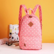 Sweet Lovely Fresh Pig nose Pink Surface White Polka Dot School Bag College Backpack
