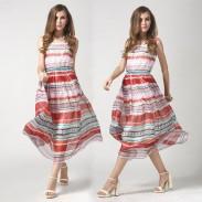 Summer Color Stripe Chiffon Bohemian Dress