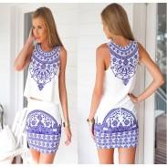 Retro Blue And White Porcelain Dress Suits