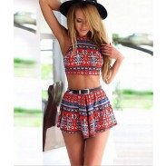 Sexy Summer Fashion Charming Halter Printing Two Suits Romper