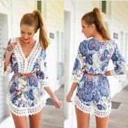 Sexy Totem Printing Lace V-Neck Dress