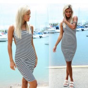 Sexy Brace Stripe Backless Dress
