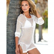 Women Bikini Dress Knitted Shirt Sunscreen Clothing Blouse Beachwear
