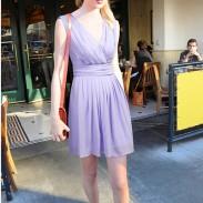 New Sweet Girls V-neck Chiffon Sleeveless Purple Solid Fairy Dress