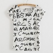 Letters Bat Sleeve Printed T-Shirt