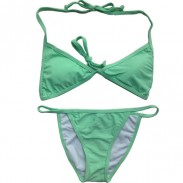 Green Solid split Bikini Sexy Beach Swimsuits Bikini Set