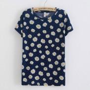 Small Chrysanthemum  Short Sleeved Cotton T-shirt