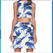 Round Neck Hilum Sleeveless Printed Sleeveless Vest + Skirt Tow Piece
