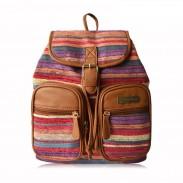 Fresh Folk Striped Satchel School Bag Canvas Backpack