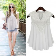 Casual V-neck Loose Hollow Lace Splice Chiffon Sleeveless Fat Lady Top