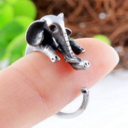 Original Silver Mother Elephant Animals Opening Alloy Ring
