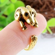Bend Angle Goat Animals Open Adjustable Wrap Ring Vintage Golden Ring