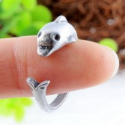 Lovely Cute Dolphin Antique Vintage Silver Animals Opening Ring