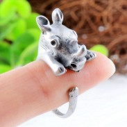 Baby Cute Rhinoceros-shaped Opening Ring Alloy Ring