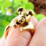 Animals Ring Lovely Piggy Golden Opening Ring