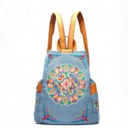 Retro Folk Style Flower Embroidery Cowboy Backpack Travel Backpack