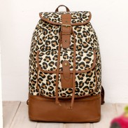 Wild Leopard Bucket Drawstring School Bag Travel Backpack