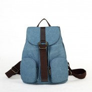 Simple Double Front Pockets Casual Hasp Drawstring Solid Canvas Backpack