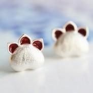 Sweet Cat Earrings Silver Kitten Animal Earring Studs