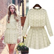Vintage Fat Lady Solid Lace Flower Geometry Round Neck Long Sleeve Dress