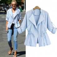Casual Lapel Collar Rolled Sleeves Solid Drawstring Waist Trench Coat