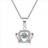 Fashion Crown Diamond Women's Crown Cross Silver Crystal Necklace