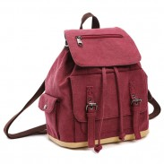 Retro Flap Draw String Multifunction Shoulder Bag Handbag Cavnas Backpack Multi-purpose School Backpack