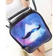 Cartoon Triangle Galaxy Beard Print Backpack & Handbag