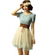 Fashion Nice Vintage Denim Gauze Skirt Dress