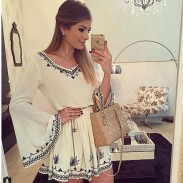 Retro Embroidery Flare Sleeve White V Neck Dress Short Skirt