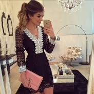 Women Sexy Black Lace V Neck Long Sleeve Hollow Dress