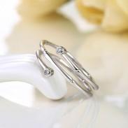 Bamboo Inlay Zircon Stylish Adjustable Silver Opening Spiral Ring