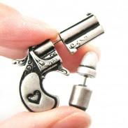 Punk Plated Gun Bullet Woman Killer Stud Earrings