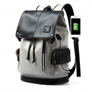 Fashion Gray USB Port Large Capacity Vertical Zipper PU Men's School Bag Computer Backpack