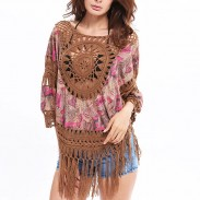 Women's Indian Style Outer Blouse Tassel Hand Knitting Large Size Tops