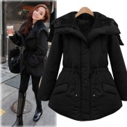 Fashion Black Thickening Slim Elastic Waist Belt Parkas Down Jacket Cotton-padded Jacket Feather Dress