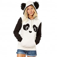 Winter Cute Hairball Panda Animals Hoodies Thicken Fleece Sweatshirts