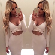 Sexy Long-sleeved Nightclub Hollow Dress Irregular Chest Cross Sexy Dress