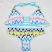 Graphic Wave Stripe Printing Micro Bikini Swimwear Bandage Bikini
