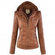 Leather Jacket Fashion Fall Winter Faux Leather Detachable Fake Two-piece Hood Zipper Jackets Coat Leather Clothing