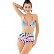 Sexy Mixed Colors Striped Triangle High Waist Bikini Swimsuit