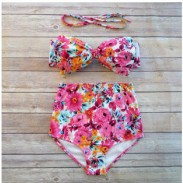 Bow Bikini High Waist Swimsuit Push Up Bathing Suit