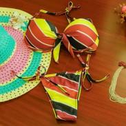 Sexy Women Rainbow Stripe Flower Push Up Bra Swimsuit Beachwear Swimwear