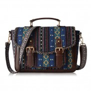 Folk Nation Totem Weave Double Belt Shoulder Bag Canvas Messenger Bag