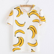 Fresh Yellow Banana Printed Cotton Funny Fruit White T-Shirts