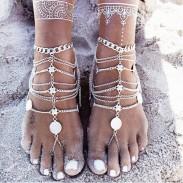 Retro Women Multilayer Tassel Coin Anklet Barefoot Sandals