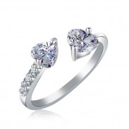 Fashion Double Heart Full Open Adjustable Diamond Ring